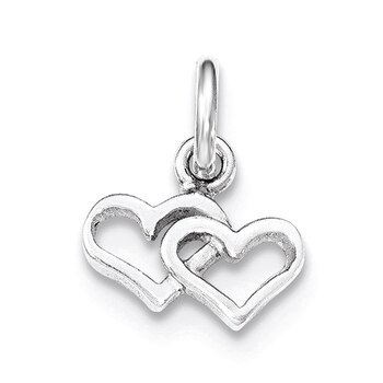 Primary image for Lex & Lu Sterling Silver Polished Double Heart Charm
