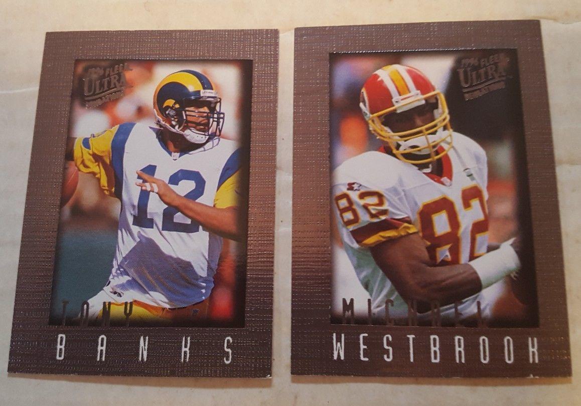 1996 Fleer Ultra Sensations Pewter football lot of 4 cards