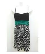 I.N. San Francisco Womens Junior Large Dress Black White Zebra Bubble Pa... - $14.99