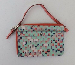 Fossil Teal Blue Salmon Leather Trim Wristlet Coin Purse Bag Ziparound W... - $20.00