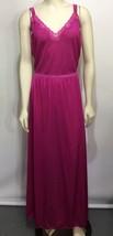 Vanity Fair Womens M Rose Red Long Nylon Silky Nightgown Sleeveless Made... - $67.13