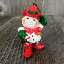 Vintage Cowboy Snowman Hallmark Keepsake Christmas Tree Ornament 1982 - $41.99