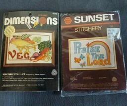 Dimensions & Sunset Stitchery Crewel Embroidery Kits Praise The Lord & V... - $19.75