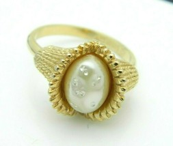 SARAH COVentry Gold Tone Faux Pearl Art Deco Style Ring Size 7.5 Vintage - $19.80