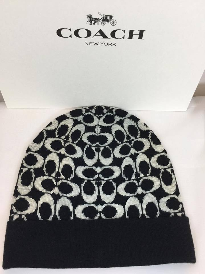 Primary image for Authentic NEW COACH Women's Signature Logo Knit Hat F86024 Black/Grey, One Size.
