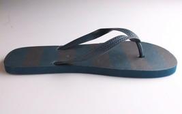 Mens Navy Shane Blue Brown Stripe Rubber Flip Flops Beach Slipper Sandals New image 2
