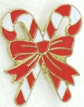 Vintage 1980s Red White Enamel and Metal Candy Cane Brooch Pin - $12.82
