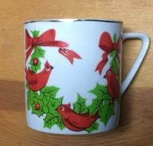 Vintage Lefton Japan Christmas Cardinals Holly China Coffee Cup Mug #1303 - $9.79