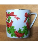 Vintage Lefton Japan Christmas Cardinals Holly China Coffee Cup Mug #1303 - £7.65 GBP