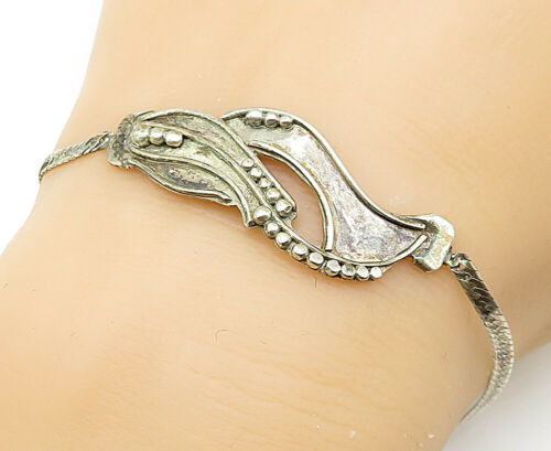 925 Sterling Silver - Vintage Ball Bead Detail Petite Chain Bracelet - B5451