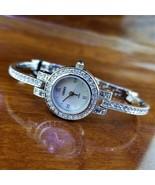 New CERES Silver Dainty Swarovski Crystal Pave Bracelet Watch MOP Dial - $225.00