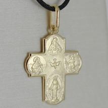 18K YELLOW CROSS & SACRED HEART MIRACULOUS SAINT CHRISTOPHER VIRGIN CARMEL MEDAL image 1