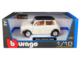 1969 Mini Cooper Beige with Black Top 1/18 Diecast Model Car by Bburago - $55.42