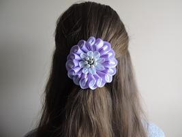 Hair flower, Purple, White, Handmade, Faux Pear... - $10.00