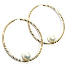 18K YELLOW GOLD CIRCLE HOOPS EARRINGS, TUBE 1.5mm, DIAMETER 5cm, HANGING PEARL image 1