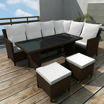 vidaXL Outdoor Dining Lounge Set 16 Piece Poly Rattan Wicker Brown Garde... - $576.99