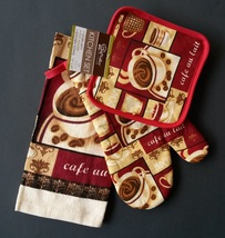 COFFEE KITCHEN SET 3pc Oven Mitt Potholder Towel Cafe au Lait Cup Red NEW - $11.99