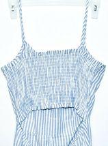 ONEBYEONE Women's Blue White Pinstripe Sleeveless Jumpsuit Playsuit Size S image 5