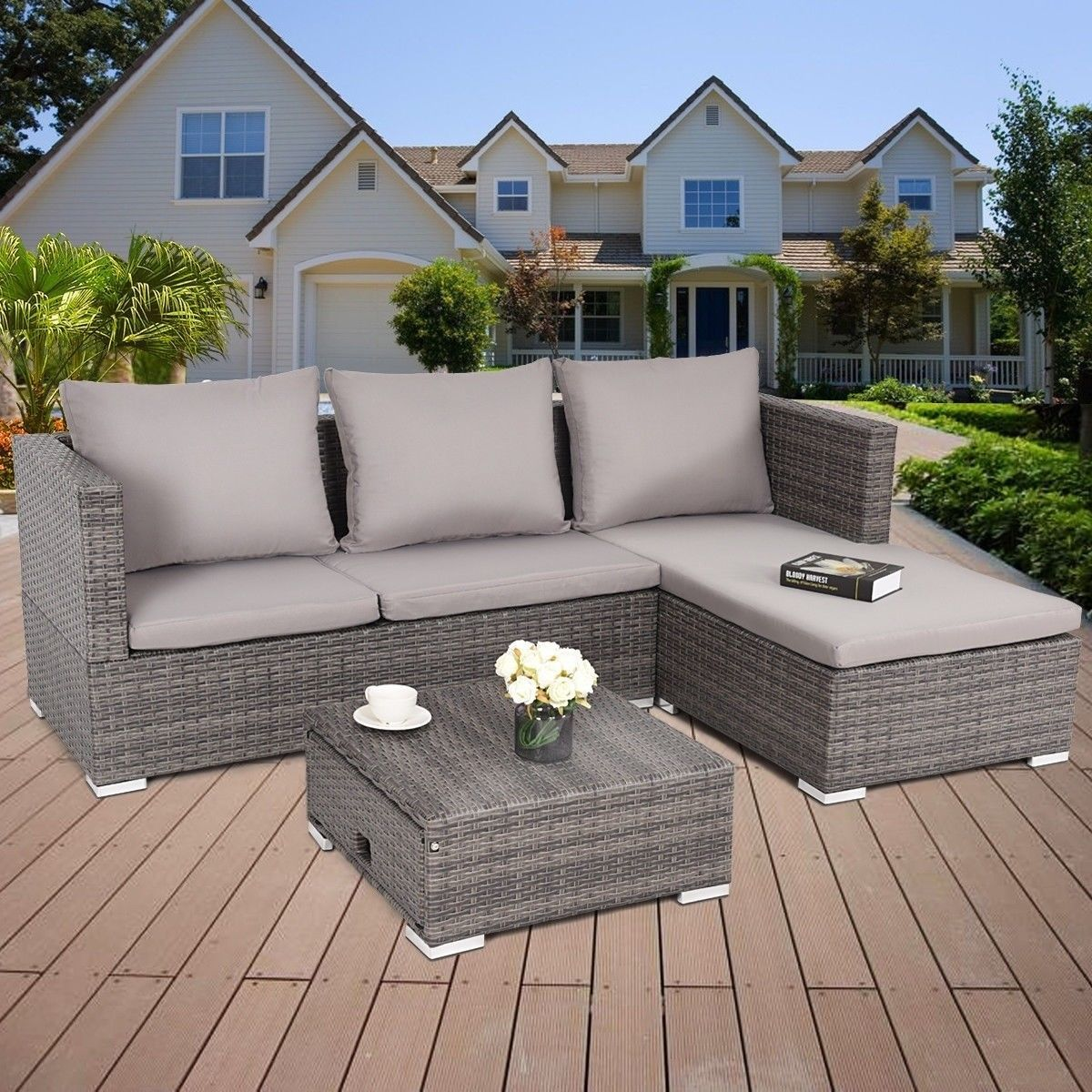 Primary image for 3 Pcs Rattan Sofa Furniture Set Adjustable Seat Outdoor Patio Sets Backyard Sofa