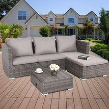 3 Pcs Rattan Sofa Furniture Set Adjustable Seat Outdoor Patio Sets Backy... - $567.99
