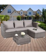 3 Pcs Rattan Sofa Furniture Set Adjustable Seat Outdoor Patio Sets Backy... - $567.99