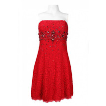 Adrianna Papell Strapless Rhinestone Bust Detail Lace Cocktail Dress - $74.99