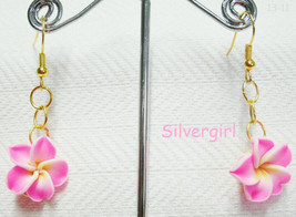 Plumeria-Pink Ribbon Dangle Earrings - $9.99