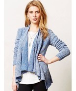 MOTH Anthropologie Winnie Heathered Blue Open Cardigan Sweater M Medium - $14.86
