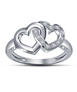 Lovely Women's White Gold Fn with Lab Created Diamond Double Hearts Shap... - $50.58