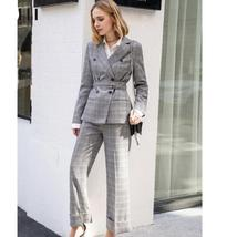 Women's Brand Fashion Plaid Double Breasted Blazer with Belt Pants Suit image 3