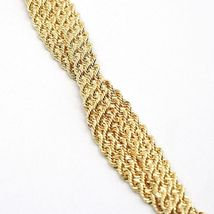 18K YELLOW GOLD BRACELET DOUBLE FLAT BRAID ROPE LINK, 7.50 INCHES, MADE IN ITALY image 4