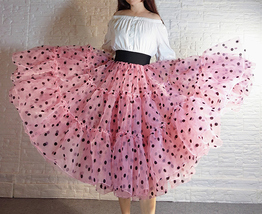 Royal Blue Polka Dot Tutu Skirt A-line Layered Puffy Midi Organza Tutu Skirt  image 5