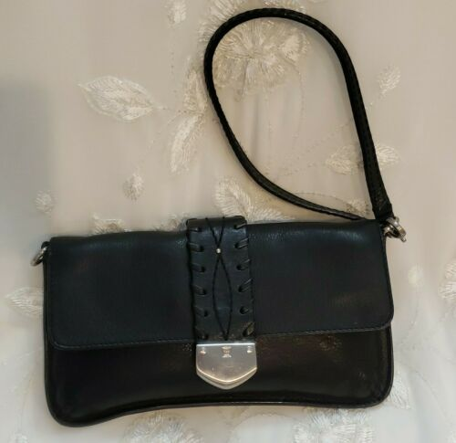 Primary image for Michael Kors Wristlet Mini Clutch Bag Black Leather Western Whip Stitch Stud