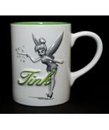 Disney Authentic Tink Tinkerbell Raised Design Large Mug White Green Ceramic - $17.82