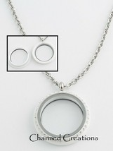 30mm White Acrylic Floating Charm Memory Locket Stainless Steel Necklace - $16.82