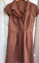 Ann Taylor LOFT Silk Shift Dress Women's 6 Petite Brown Cap Slv Surplice... - $14.84