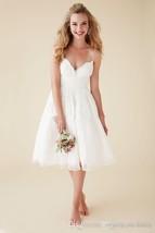 Sexy Back Open Lace Wedding Dress Spaghetti Strap Short Beach Wedding Go... - $120.00