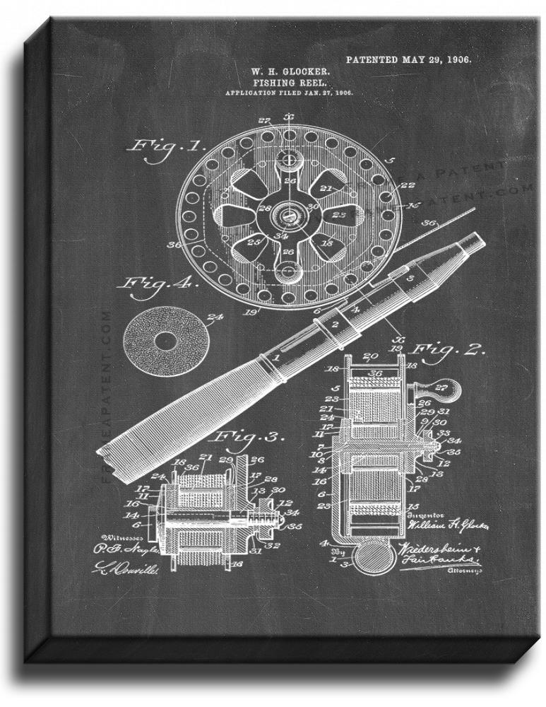 Primary image for Fishing Reel Patent Print Chalkboard on Canvas