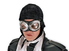 SteamPunk COSPLAY WW I Aviator Style Black Hat and Silver Goggles NEW UN... - $31.92