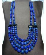 NEW Jay King Blue Lapis & Onyx Multi-Strand Bead Necklace,Desert RoseTra... - $187.00