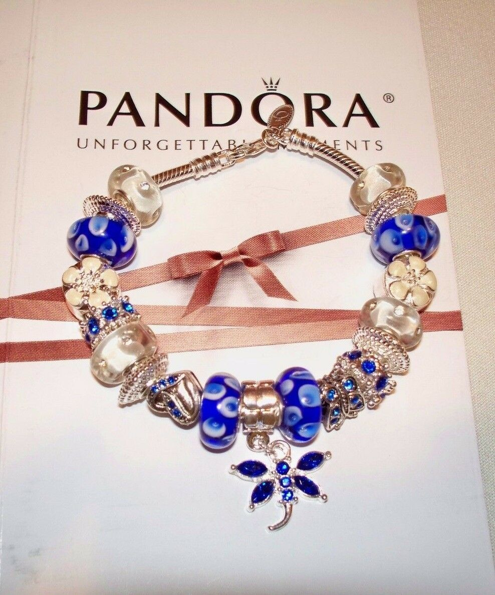 Primary image for Authentic Pandora Sterling Silver Bracelet Blue Heart,Butterflies
