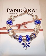Authentic Pandora Sterling Silver Bracelet Blue Heart,Butterflies - $93.49