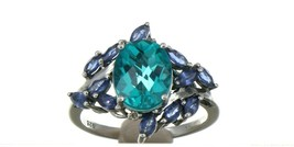 Ladies Size 7.25 Sterling Silver Blue Green Tourmaline Ring No. 2155