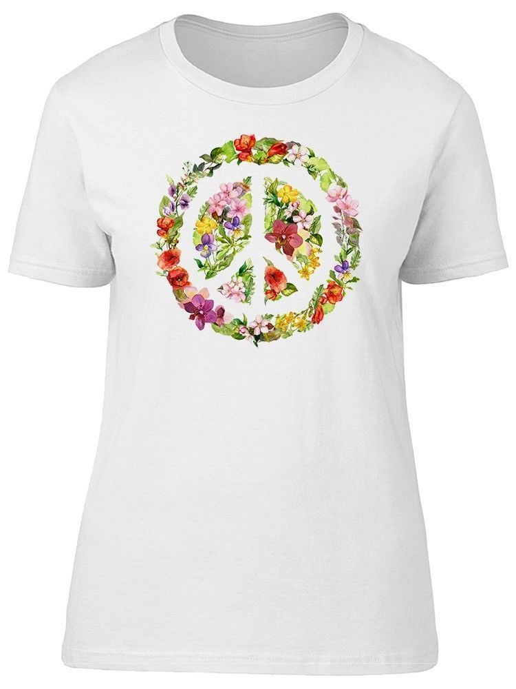 Primary image for Floral Peace Sign Artwork Women's Tee -Image by Shutterstock