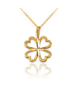 10K Yellow Gold Tiny Irish Shamrock Clover DC Charm Necklace - $49.99+