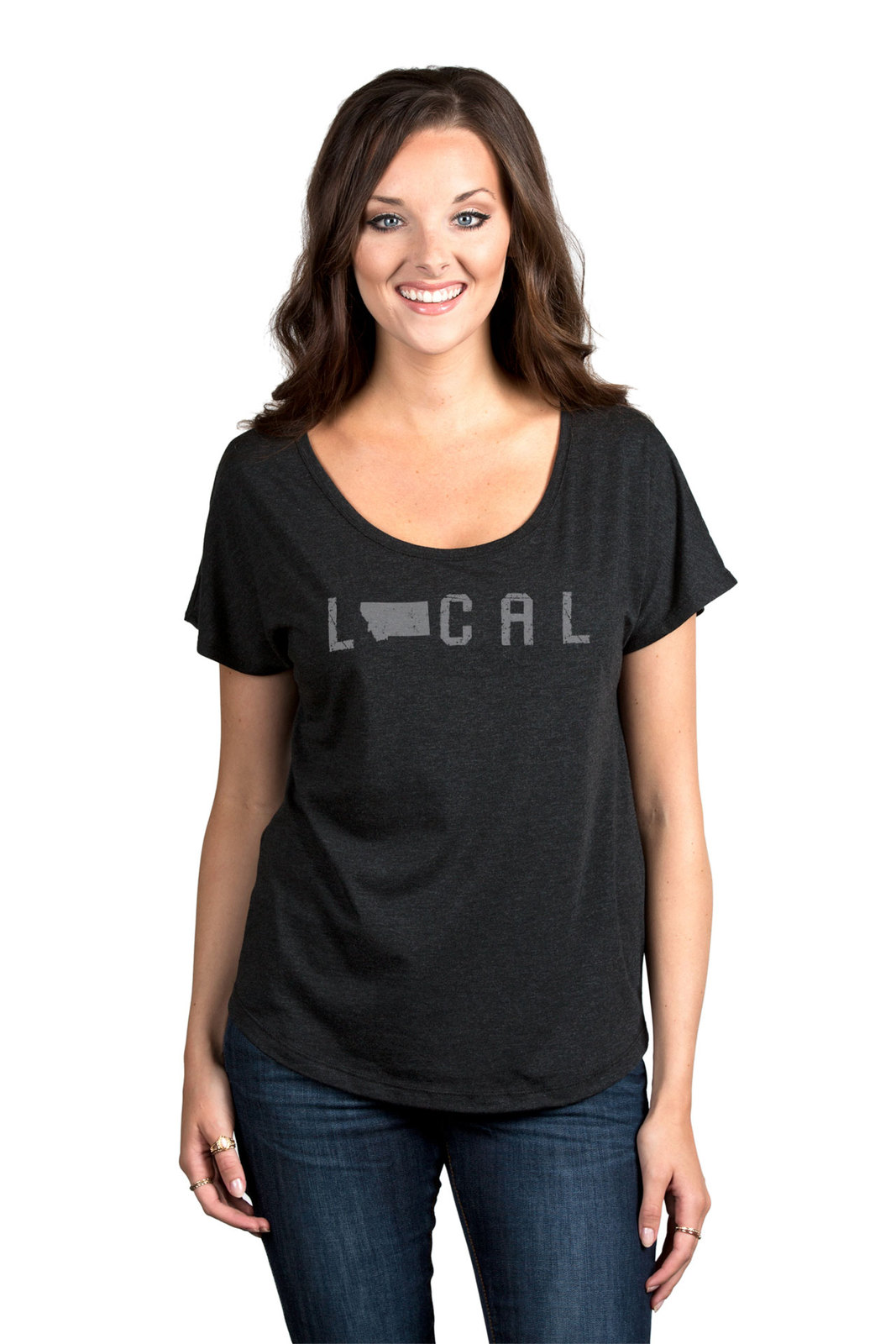 Thread Tank Local Montana State Women's Slouchy Dolman T-Shirt Tee Heather Black