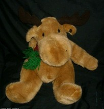 VINTAGE MTY INTERNATIONAL CHRISTMAS MOOSE W SCARF BROWN STUFFED ANIMAL P... - $23.38