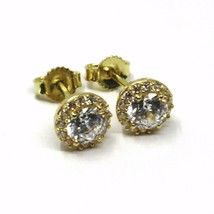 18K YELLOW GOLD BUTTON EARRINGS CUBIC ZIRCONIA ROUND WITH FRAME FLOWER SUN 7 MM image 2