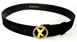 Paloma Picasso Women's GOLD OX Rhinestone Logo Black Leather Belt  Sz M/75 - $39.55
