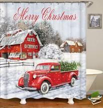 Christmas Shower Curtain, Colorful Christmas Balls with Pine Fir Tree, P... - $44.29